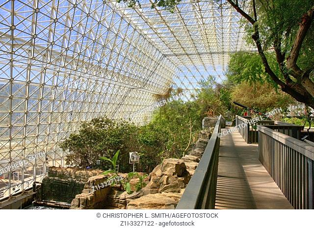 Inside the Rainforest and Ocean area at Bisosphere 2, the American Earth system science research facility located in Oracle, AZ