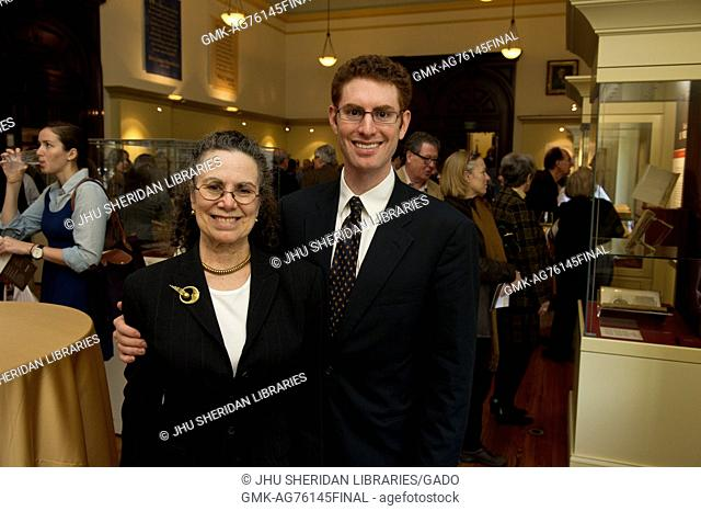 Eric and Eileen Hinkes, who donated the Dr. Elliott and Eileen Hinkes Collection of Rare Books of Scientific Discovery, pose during the opening of Eureka