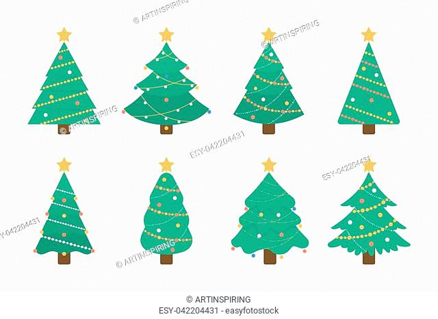 Christmas tree set. Isolated green tree illustartion with decorative toys and stars on white background