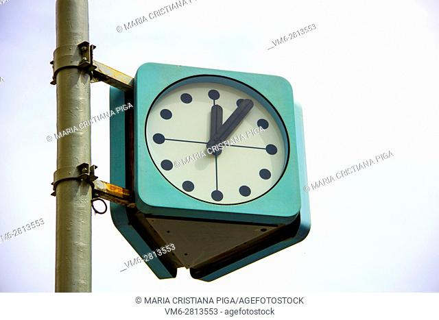 Street clock in Prague, Czech Republic