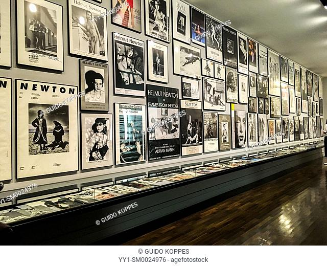Berlin, Germany. Oversight of Helmut Newton's publications. The famous photographer ownes a dedicated department inside the Museum of Photography near Bahnhof...