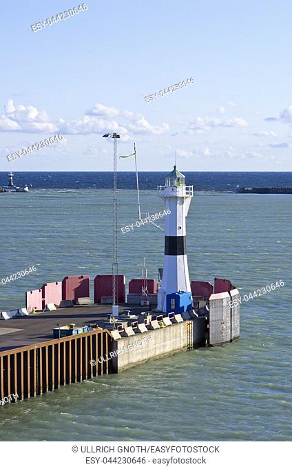 Lighthouse at the edge of the eastern pier of the port of Trelleborg, Sweden