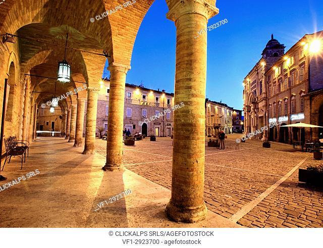 Piazza del Popolo, Offida village, Ascoli Piceno district, Marche, Italy