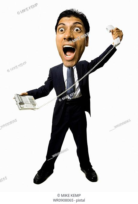 Caricature of man with telephone yelling