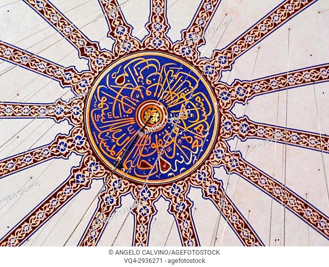 Sultan Ahmed Mosque, Detail of the Blue Mosque interior, Turkey, Istanbul,