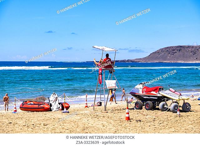 Coast guard at the beach of Las Palmas, Gran Canaria