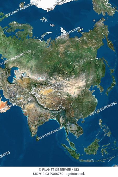 Satellite view of Asia. This image was compiled from data acquired by LANDSAT 7 & 8 satellites