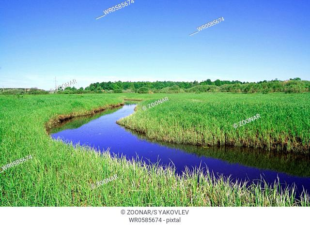 blue river on green field