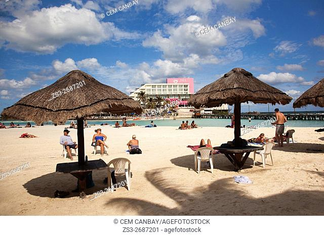 People sunbathing at the beach, Isla Mujeres, Cancun, Quintana Roo, Yucatan Province, Mexico, North America