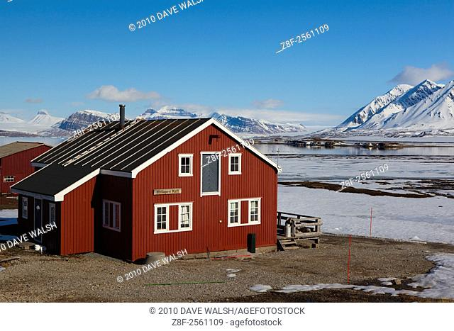 Mellageret Kafe, the bar at the international scientific research base of Ny Alesund, Svalbard