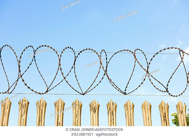 Razor wire on the top of Palisade Security fencing