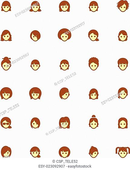 Vector women faces icon set