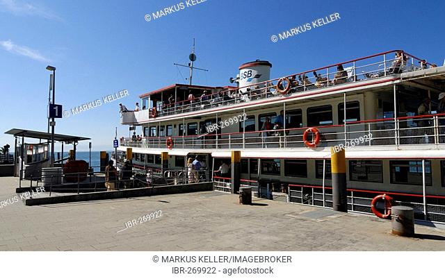 At the sea-promenade with a excursion ship, Meersburg, Baden Wuerttemberg, Germany, Europe