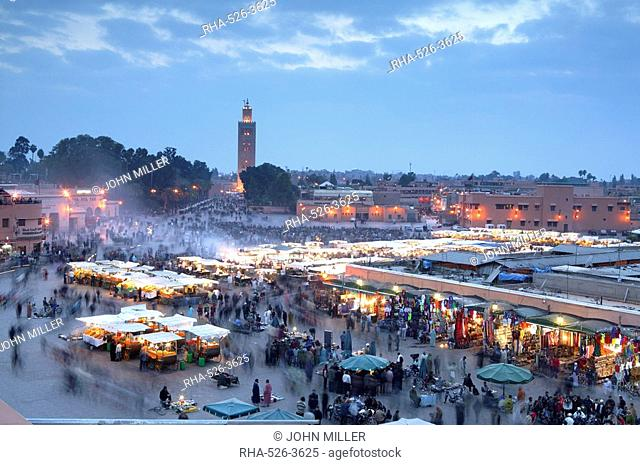 Djemma el Fna square and Koutoubia Mosque at dusk, Marrakech, Morrocco, North Africa, Africa