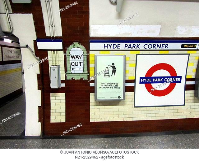 Hyde Park Corner undergound Station. London, England, Great Britain, Europe