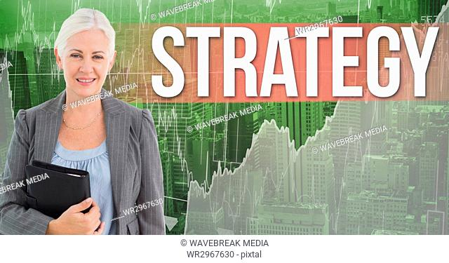 Digital composite image of businesswoman holding black diary standing by text strategy against graph
