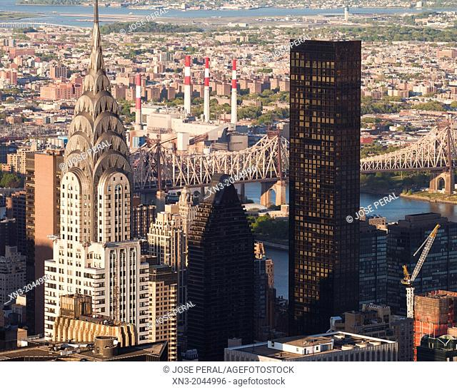 The Chrysler Building and Trump World Tower, Queensboro Bridge, view from Empire State Building, Manhattan, New York City, New York, USA
