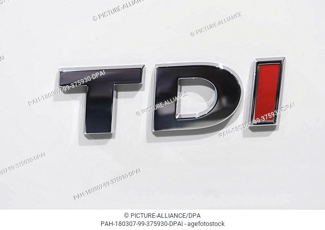 07 March 2018, Switzerland, Geneva: The writing 'TDI' is on display on a Voklswagen (VW) Diesel Multivan during the 2nd Press Day at the 2018 Geneva Motor Show