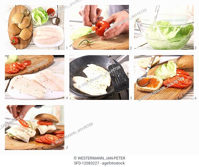 How to prepare a fish burger with chilli sauce, tomato and lettuce