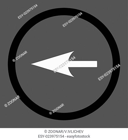Sharp Left Arrow flat black and white colors rounded vector icon