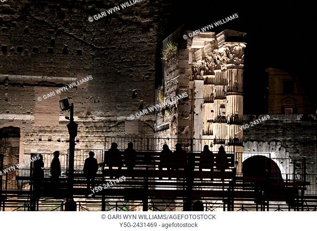 Light show at the Forum of Augustus archaeological site in Rome Italy