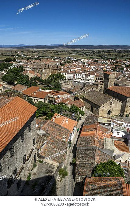 View of Plaza Mayor and Alcazar de los Chaves in Trujillo, Extremadura, Spain from a side srteet
