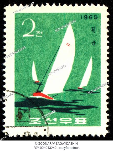 DPRK - CIRCA 1965: A stamp printed in DPRK North Korea shows yachts in a sea