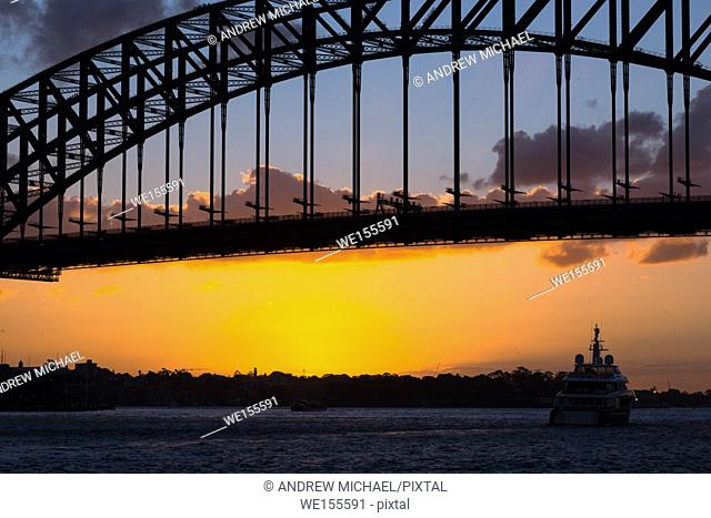 Sydney Harbour bridge at sunset. Sydney, New South Wales, Australia
