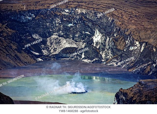 Grimsvotn crater steaming in lake, Grimsvotn volcanic eruption, Iceland  The eruption began on May 21, 2011 spewing tons of ash
