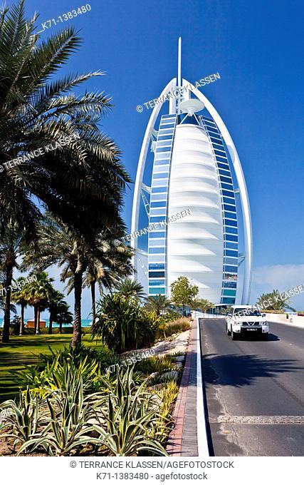 The Burj Al Arab Hotel on Jumeirah beach in Dubai, UAE