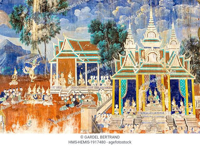 Cambodia, Phnom Penh, Royal palace, frescoes of the Silver Pagoda illustrating scenes from the Ramayana