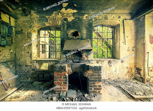 former forging furnace in a deserted factory