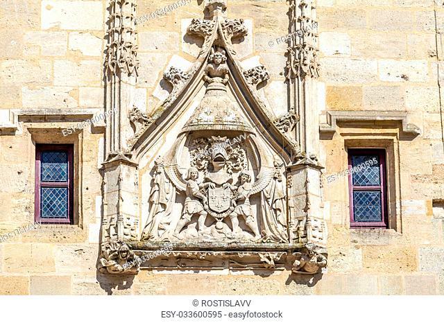 Sign of Charles VII on Porte Cailhau (XV-XVI c.), Bordeaux, France