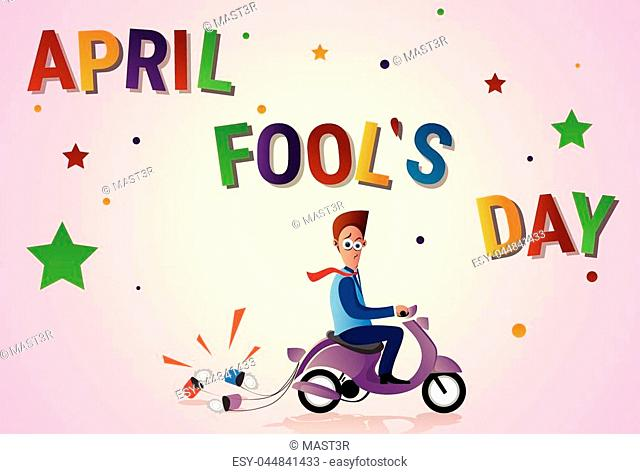 Man Ride Electric Scooter With Cans, First April Fool Day Happy Holiday Greeting Card Flat Vector Illustration