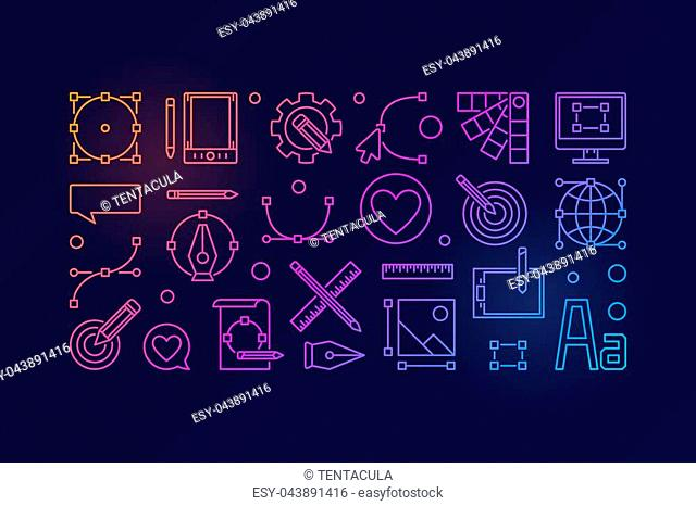 Graphic design colorful vector illustration or horizontal banner in thin line style on dark background