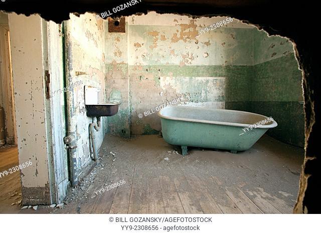 Old Bathroom in Kolmanskop Ghost Town - Luderitz, Namibia, Africa
