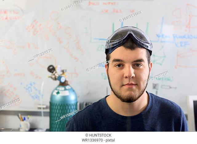 Portrait of an engineering students in chemical analysis laboratory