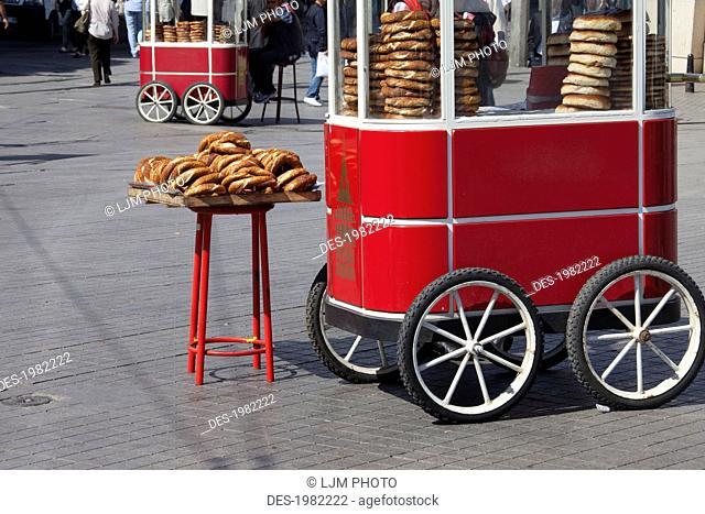 pretzel vendor in taksim square, istanbul turkey