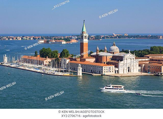 Venice, Venice Province, Veneto Region, Italy. View to the isola or island of San Giorgio Maggiore and church of the same name
