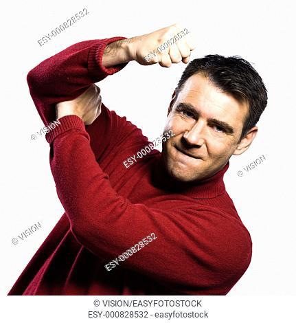 caucasian man anger rude obscene gesture studio portrait on isolated white backgound