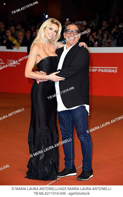 The model Ria Antoniou with the stylist Guillermo Mariotto during the red carpet Tribute to Gregory Peck at 11th Rome Film Festival, Rome, ITALY-20-10-2016