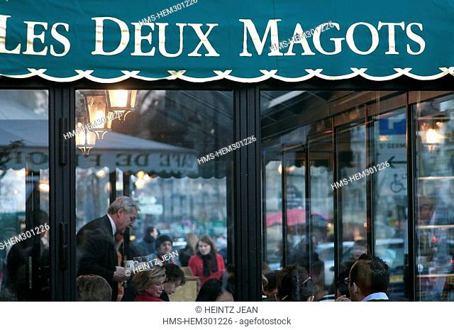 France, Paris, Saint Germain des Pres District, Les Deux Magots Cafe