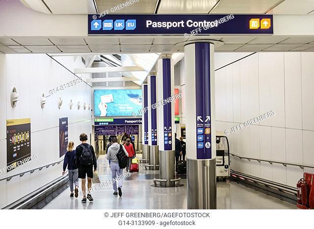 United Kingdom Great Britain England London, Heathrow Airport LHR, ramp, passport control, sign, directions