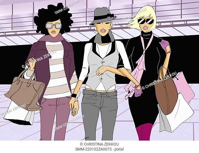 Three women shopping together