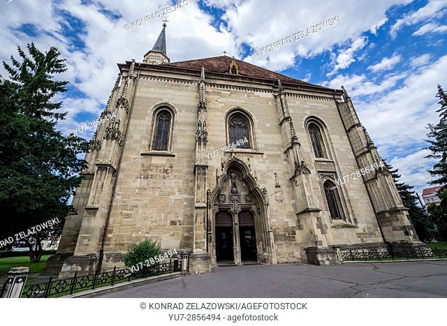 Gothic-style Roman Catholic church of Saint Michael, located on Union Square in Cluj Napoca, second most populous city in Romania