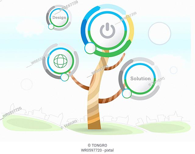 The web icons tree with buildings around
