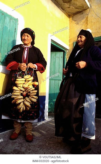 Karpathos, Olymbos: True to Tradition Olymbos, women, Easter bread