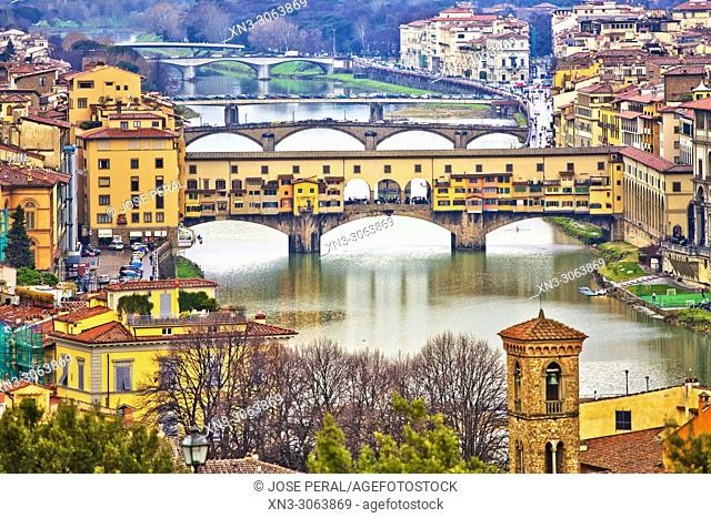 Panoramic view of Florence from Piazzale Michelangelo, Michelangelo Square, Ponte Vecchio, Old Bridge, Arno River, Florence, Tuscany, Italy, Europe