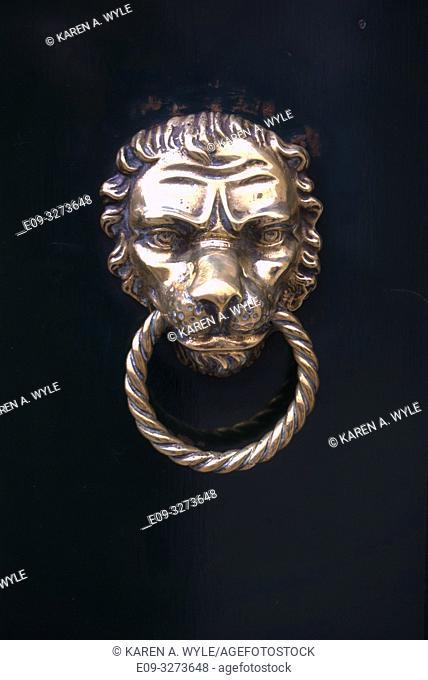brass lion-head door knocker on black door, Venice, Italy