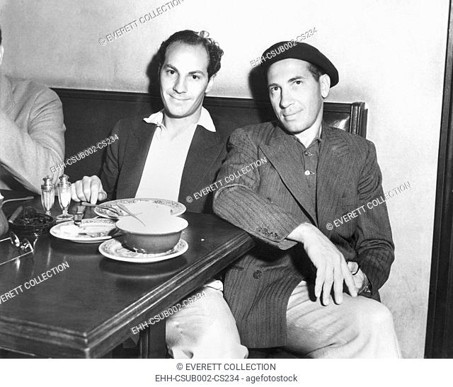 Zeppo and Chico Marx at the Brown Derby, where many Hollywood film stars have lunch. August 29, 1932. (CSU-2015-11-1250)